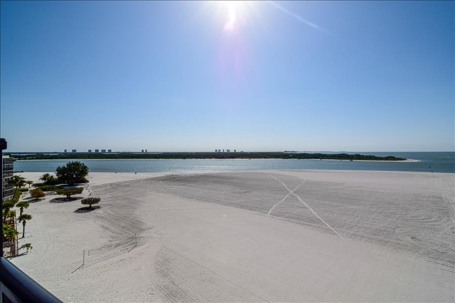 View from your Deck of white sandy beach